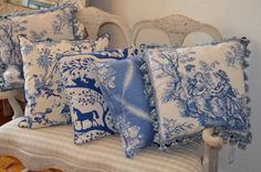 Fresh new collection of blue and white pillows for Spring