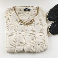 BDG Knit Sweater Light and airy sweater that is perfect for unpredictable spring weather! It has on small and very light stain as shown in the 4th pic. BDG Sweaters Crew & Scoop Necks