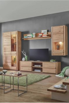 Schon Wohnwand Eichefarben, Massivholz Wohnwand Eiche, Eiche Holz, Wohnwand Modern,  Rund, Zuhause