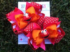 ELMO HAIR BOWS - Elmo Birthday - Sesame Street - Pigtail bows - Shoe toppers - Toddler, Infant, Big girls Bow - Over the top bow on Etsy, $19.99