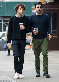 Advocate for LGBT rights:Zachary Quinto, 38, and boyfriend, model Miles McMillan, 24, pictured in New York City on December 14