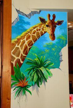 Trompe l'œil Wall with Giraffe