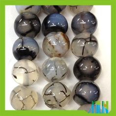 Natural jade ice crack miscellaneous stone round black amber beads