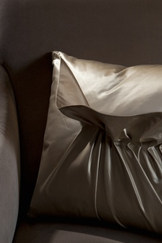 Adalene I Pillow by Ebanista from Collection Ten - Champagne and taupe satin silk