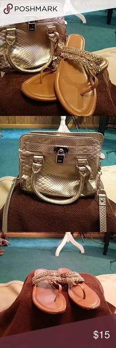 Silver & bling for Holidays Lauren Conrad small silver purse satchel of crosdbody and Jessica Simpson blingy sandals size 10 Accessories