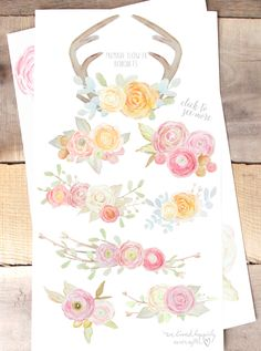 Gorgeous Watercolor Flower Graphics!