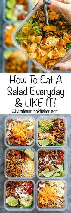 Jeden Tag einen Salat, so geht's. Einfach vorbereiten und ab damit ins Büro oder zur Arbeit. So geht Meal prep.