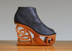 Unravel Hand Carved Wood Platform Wedge Heel by Fashion4Freedom