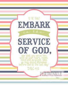 2015 Mutual Theme -Embark in the Service of God -LDS Young Women's Printable -D&C 4: 2-Mormon -LDS -Latter Day Saint