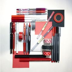 Stationery art: Red & black flat lay! Washi tape, pens, muji, colors, pilot juice, artline stix, brush pen, maica, crayola super tips, stationery addict. Instagram: Deniz @stationerysatellite