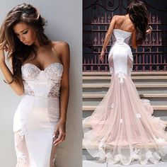 Sexy Mermaid Sweetheart Tulle Long Evening Dress Sweep Train Lace Custom Made Zipper Evening Party Dresses_Evening Dresses_Special Occasion Dresses_Wedding Dresses | Prom Dresses | Evening Formal Gowns | Suzhoudress.com