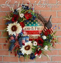 Rustic Land of the Free Because of the Brave Patriotic Wildflower Wreath, Primitive Americana Summer Wreath, Memorial Day, 4th July