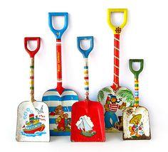 vintage toy metal shovels