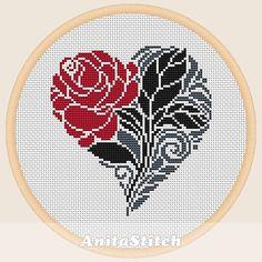Valentine flower Cross stitch pattern от AnitaStitch на Etsy
