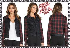 Hudson's Signature Jean Jacket is a classic jean jacket featuring their iconic pocket. In Wasteland, it features black coated denim with red plaid sleeves for a punk inspired look.  Available size XS-Med