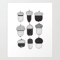 Doodle acorns autumn pattern Art Print #society6 #print #wallart #walldecor #homedecor #acorns #autumn #doodles #blackandwhite #katerinakart