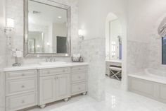 Traditional Master Bathroom with 2 Piece Revere C-Panel RTF Cabinet Doors, Custom Mirrors, Marble Thassos White