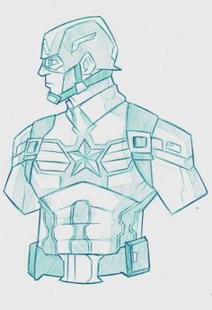 Captain America Sketch Captain America Sketch by Adam Bryant, via Behance