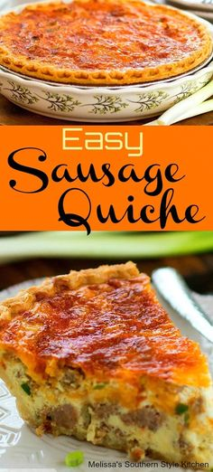 Easy Sausage Quiche is ideal for serving at any meal. It's filled with sausage, green onion and lots of cheddar cheese smothered with silky egg custard. Breakfast Pie, Sausage Breakfast, Breakfast Dishes, Breakfast Ideas, Easter Breakfast Recipes, Easter Recipes, Breakfast Casserole, Quish Recipes, Cooking Recipes