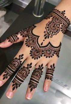 Henna Flower Designs, Pretty Henna Designs, Modern Henna Designs, Henna Tattoo Designs Simple, Basic Mehndi Designs, Finger Henna Designs, Mehndi Designs Feet, Mehndi Designs For Beginners, Mehndi Design Photos