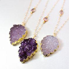 Purple Druzy Leaf Necklace Autumn Necklaces Leaf by OhKuol