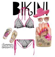 Custom crochet- motif print Bikini By CAM237Design  on Polyvore featuring mode,  Accessorize and Clinique