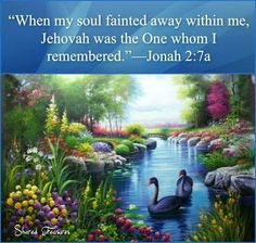 Jonah When we are sick or depressed, Jehovah is the one that we should turn to. Bible Scriptures, Bible Quotes, Inspirational Scriptures, Jehovah S Witnesses, Jehovah Witness, Bible Translations, Bible Text, Spiritual Thoughts, Positive Thoughts