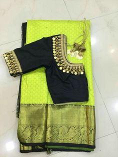 Kasu embellished blouse designs for silk saree Wedding Saree Blouse Designs, Silk Saree Blouse Designs, Blouse Neck Designs, Silk Sarees, Saree Wedding, Indian Sarees, Mirror Work Blouse Design, Mirror Work Saree Blouse, Simple Blouse Designs
