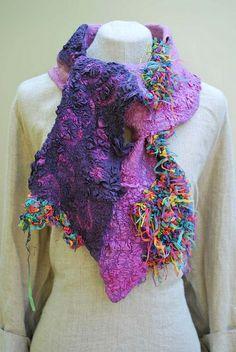 Hand felted scarf by sassafrasdesign, via Flickr