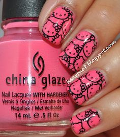 Hot Pink Hello Kitty Nail Art: Manicure done with China Glaze Sugar High and stamped using FUN2 in Konad Black.