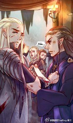 Thranduil, Legolas, Tauriel & Elrond