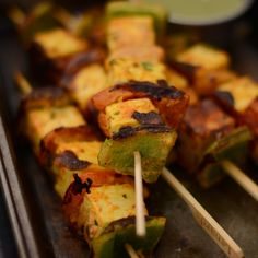 Tandoori Paneer Skewers are an excellent party starter. In fact, it is a hit every time I make it for guests.It's flavourful, delicious, pairs equally well with beer, cocktails or wine and just the right party food.