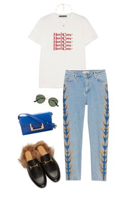 """Untitled #2610"" by shelleytrinder ❤ liked on Polyvore featuring Gucci, AlexaChung, Ray-Ban and Yves Saint Laurent"