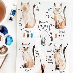 Crafts Water Hi, time for my new tutorial 😌🙌🏻. This time I've chosen a Siamese cat 🐈. I don't know why I've painted exactly this animal. This idea just… Watercolor Beginner, Watercolor Art Lessons, Watercolor Painting Techniques, Watercolour Tutorials, Watercolor Drawing, Watercolor Animals, Cat Drawing, Watercolor Illustration, Painting & Drawing