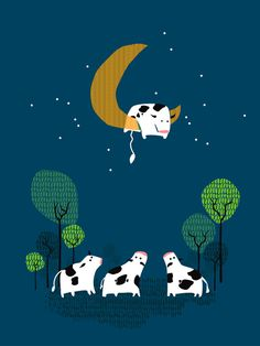 Poster | A COW JUMP OVER THE MOON von Budi Kwan | more posters at http://moreposter.de