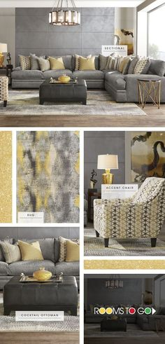 Discover the key pieces of a comfy living room with our Palm Springs room break down. The sectional's plush woven upholstery has a lavish feel and on trend gray color. Add a pop of yellow with an accent chair, and carry it over into the area rug. Finish t