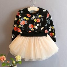 Girls Kids fashion dress floral flowers sweater dress. For more cute clothing for girls and boys click on the image.