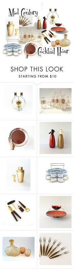 """""""Mid Century Cocktail Hour"""" by vintageandmain ❤ liked on Polyvore featuring interior, interiors, interior design, home, home decor, interior decorating, Garnier and vintage"""
