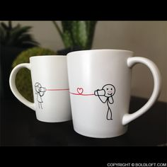 "Say I love you with this cute coffee mug set, and hear her say ""I love you too!"" A sweet anniversary gift for him. Perfect Gift For Boyfriend, Valentine Gifts For Husband, Gifts For Hubby, Unique Gifts For Him, Christmas Gifts For Boyfriend, Perfect Christmas Gifts, Boyfriend Gifts, Valentine Day Gifts, Boyfriend Girlfriend"