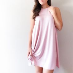 Lace up back dress Lace up back dress in dusty pink color. Last 3 photos courtesy of April Spirit (color most true to these photos)  Fabric content: loose fitting. 95 % rayon, 5% spandex Fit: Young contemporary, loose fitting  Model is wearing size S  • Price is firm • April Spirit Dresses