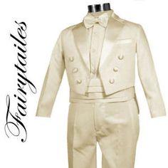 44.09$  Watch now - http://vidgt.justgood.pw/vig/item.php?t=80xafb0788 - Ring Bearer Boys Tuxedo Tail Suit Tux Set Ivory Size 7 44.09$