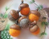 Felted Acorns, Pumpkin Orange And Taupe Needle Felted Acorns, Autumn Fall Thanksgiving Decor Nature Woodland Decor Waldorf Inspired