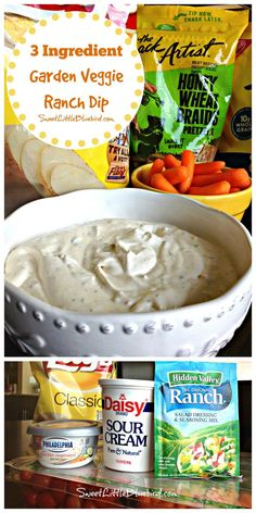 3 Ingredient Garden Veggie Ranch Dip – Cheese Chips – Ideas of Cheese Chips – Fest Time Ranch Dip, Snacks Für Party, Appetizers For Party, Molho Ranch, Cheese Chips, Snacks Sains, Appetizer Dips, Clean Eating Snacks, Finger Foods