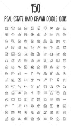150 Real Estate Hand Drawn Doodle Icons