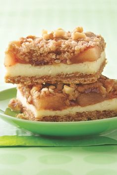 Apple Streusel Cheesecake Bars. These are even better with fresh apples. Core & slice 6-8 med apples add 1/4 cup sugar and 1 1/2 tsp cinnamon, bake ~20 min at 350.
