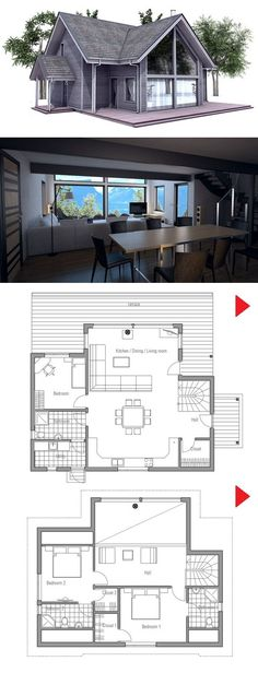 Small House Plan from ConceptHome.com.   While I don't like the look of the home from the outside, there are very nice aspects from the inside.