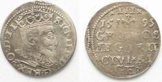 1595 Riga RIGA 3 Groschen (Trojak) 1595 GE SIGISMUND III of POLAND silver VF # 95140 VF