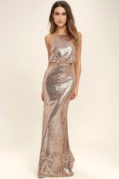 216057ad8a3 Let the My Muse Rose Gold Sequin Maxi Dress be your party inspiration!  Adjustable spaghetti
