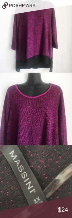 Massini Knit Sweater Shirt Purple Plus Size * Knit Sweater Top * Sheer Shirt Bottom * 3/4 Sleeve * Scoopneck * Lined  Size: 1X Color: Purple & Black Condition: Excellent - Like New Material: 53% Polyester 47% Rayon, Lining: 100% Polyester *Stock photo shown for Fit & Style*  Measurements Bust: 46 inches Length: 27 inches Sleeve: 21 inches All measurements are approximate.  No stains, rips, tears | Pet/Smoke free home. Offers welcomed ✨ Massini Sweaters Crew & Scoop Necks