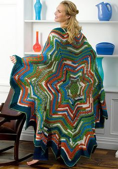if i could knit: Ravelry: 7-Point Star Throw pattern by Ann Regis